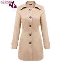 ACEVOG Long Trench For Women Spring Fashion Slim Turn Down Collar Long Sleeve Solid Color Trench