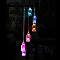 LED Solar Light Romantic Wind Chime Lamp Color Changing Solar Panel Lucky Bottle Lamps For Home