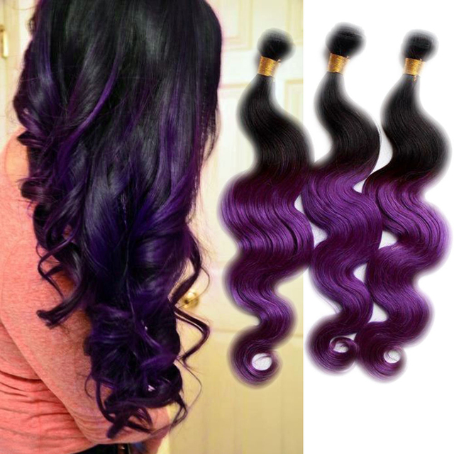 Ombre Hair Extensions Brazilian Vir Gin Body Wave Hair Weaves 3pcs