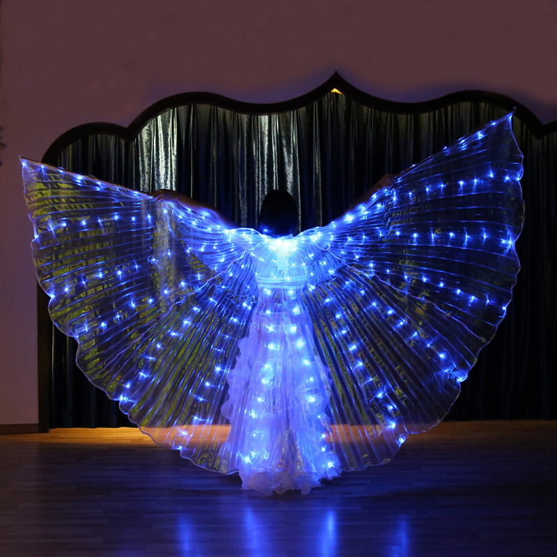 Womens Blue Light Belly Dance Isis Angel Wings LED Fairy Butterfly Costumes Oriental Bellydance Performance Dancing