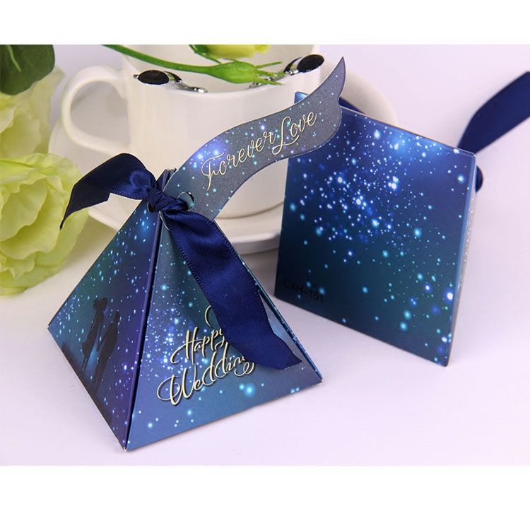 Blue Theme Star Sky Triangle Shape Wedding Favors Gifts Boxes Candy Box for Wedding Party Decorations