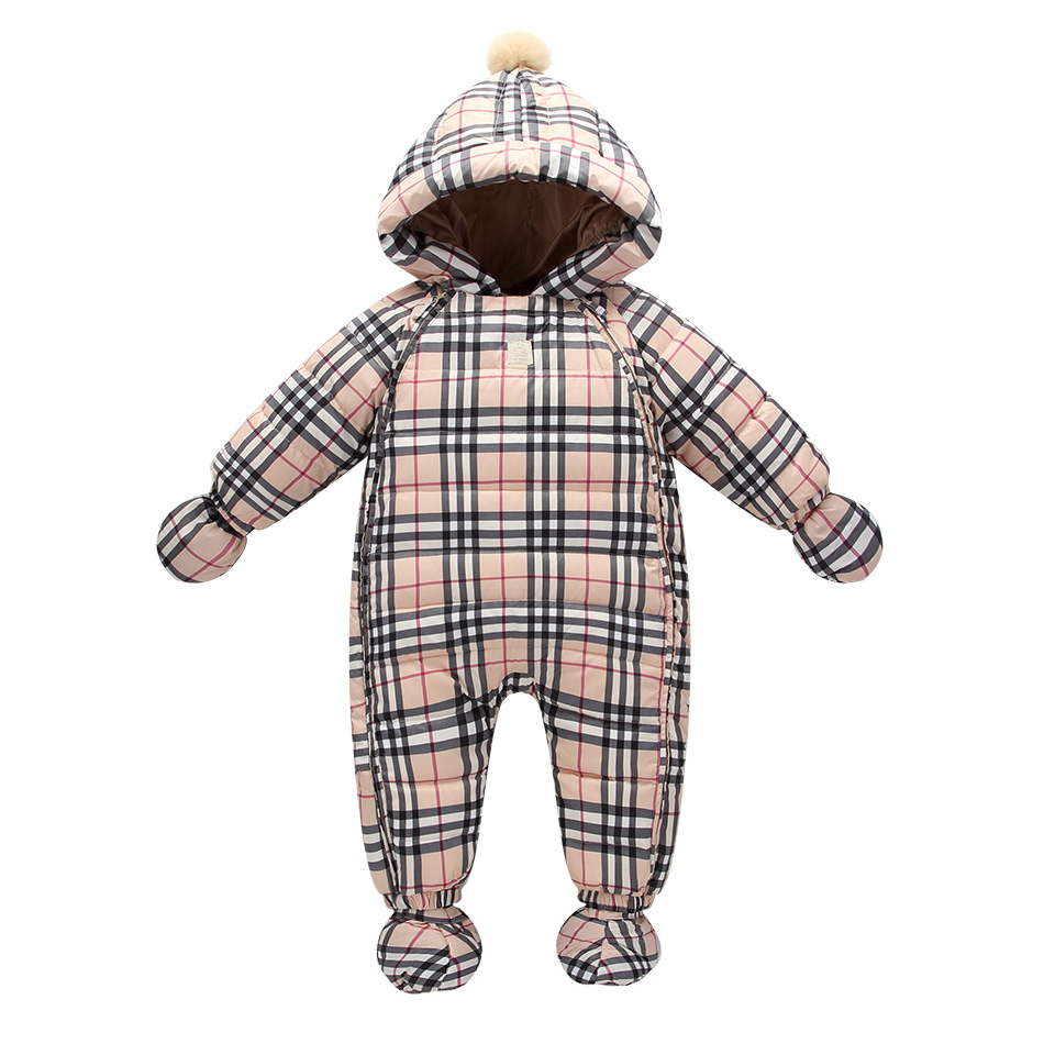 Fashion Classic font b Tartan b font baby boy clothing white duck down winter jacket for
