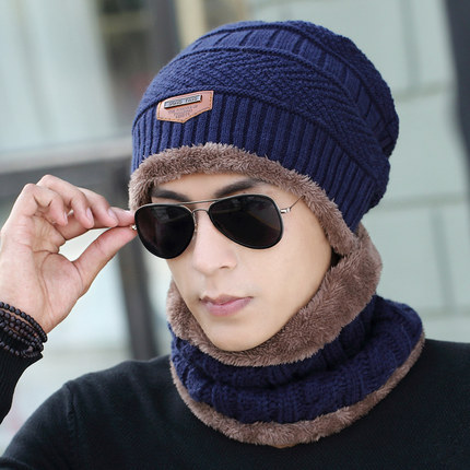 Knitted Hat Men's Autumn Winter Wool Caps Men Winter Scarf Hat Set Woman Balaclava Beanie Two-piece Ladies Hats Caps Wholesale