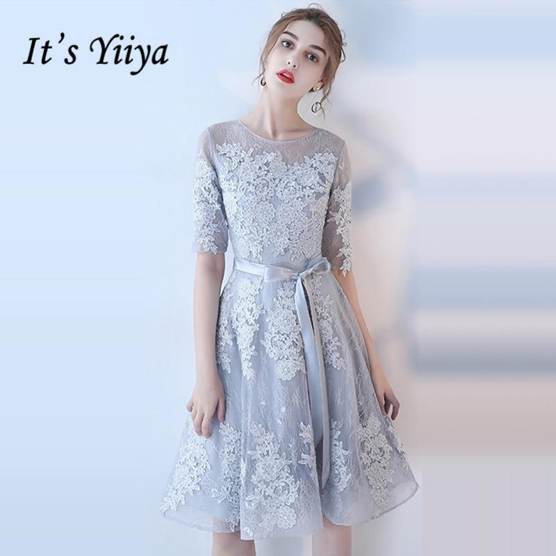 It's YiiYa Bridesmaids Dresses O-Neck Half Sleeve Sashes Formal Dress Beautiful Lace Illusion Lady Fashion Designer LX1078