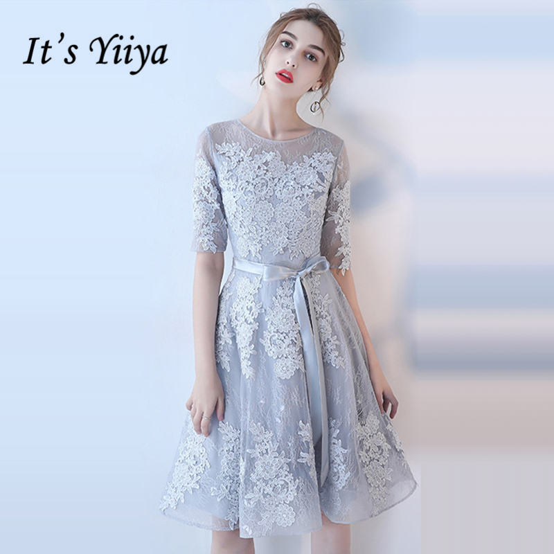 It's YiiYa   Bridesmaids     Dresses   O-Neck Half Sleeve Sashes Formal   Dress   Beautiful Lace Illusion Lady Fashion Designer LX1078