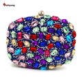 New Women Colored Acrylic Diamond Clutch Fashion Hit Color Diamond Evening Bag Wedding Party Bridal Handbag Chain Shoulder Bag