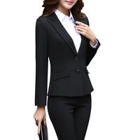 women suits office sets Black/Red Blazer with black pants Korean Style womens suits set 2 pieces ladies office suit