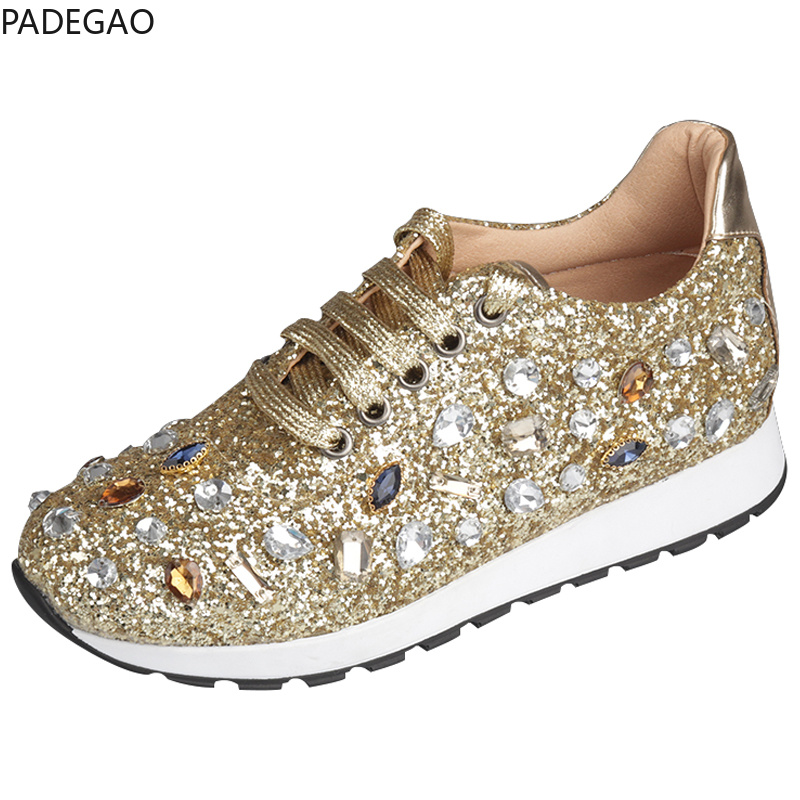 ea5d32c181b78 New Rhinestones Sneakers Women Shoe Laces Paillette Spell Color Flat Shoes  Ladies Real Leather Causal Shoes Woman