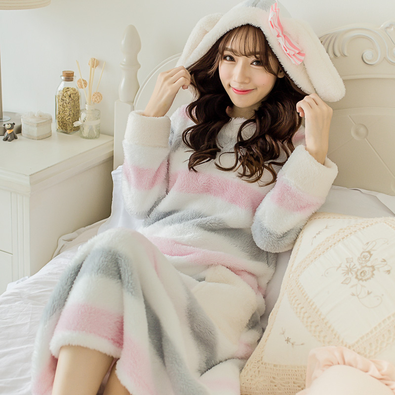 Autumn and winter lengthen thick coral fleece robe women's bathrobes lovely nightgown princess sleepwear lounge