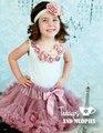 Girls Vintage Rosette Polvoriento Rosa polvoriento Pettiskirt tutú rosa, rosa niñas pettiskirt, malva falda del tutú del bebé, recién nacido tutú infantil