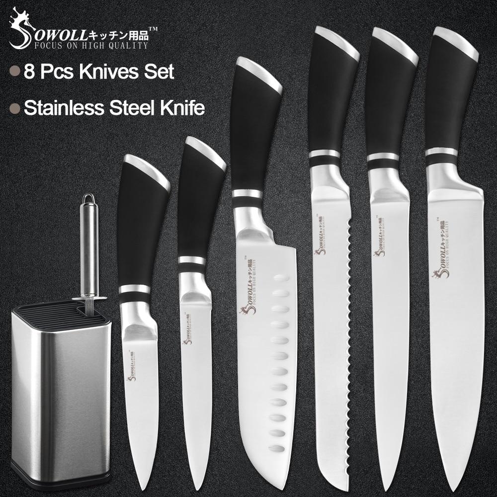 Sowoll 8 pçs conjunto de facas de aço inoxidável 8 'holder suporte de faca + afiador barra chef fatiar pão santoku utilitário aparar faca