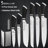 Sowoll 8 pcs ชุดมีดสแตนเลส 8 ''มีดขาตั้ง + Sharpener Bar Chef หั่นขนมปัง Santoku ยูทิลิตี้มีดปอกเปลือก