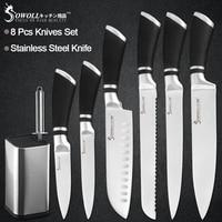 Sowoll 8 sztuk noże ze stali nierdzewnej zestaw 8 ''stojak na noże uchwyt + temperówka Bar Chef krojenie chleba Santoku Utility nóż do parowania w Zestawy noży od Dom i ogród na