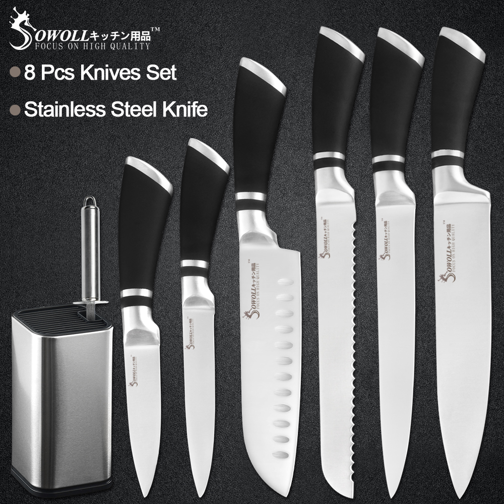 Sowoll 8pcs Stainless Steel Knives Set 8 Knife Stand Holder + Sharpener Bar Chef Slicing Bread Santoku Utility Paring KnifeSowoll 8pcs Stainless Steel Knives Set 8 Knife Stand Holder + Sharpener Bar Chef Slicing Bread Santoku Utility Paring Knife