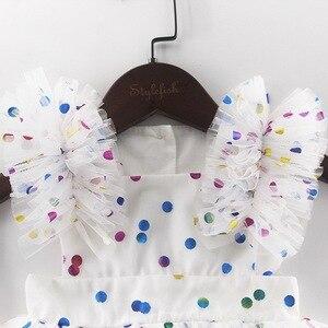 Image 5 - 도매 2019 여름 새 아기 소녀 공주 드레스 반짝이 화려한 폴카 도트 Guze 드레스 오버올 어린이 의류 E81016