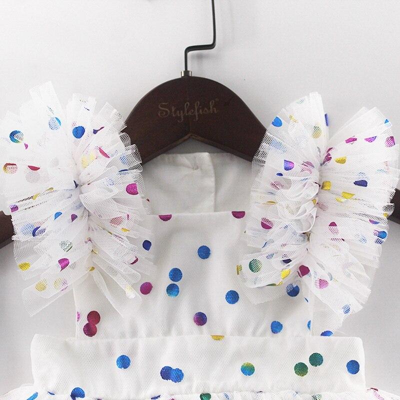Image 5 - Wholesale 2019 Summer New Baby Girl Princess Dress Glitter  Colorful Polka Dot Guze Dress Overalls Kids Clothing E81016Dresses   -