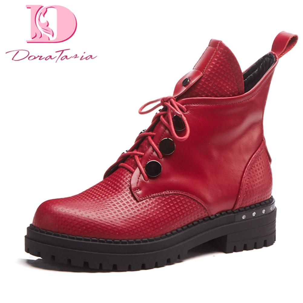 все цены на Doratasia 2018 Genuine Leather Lace Up Wholesale Women Shoes Woman Ankle Boots Square Heels Women Shoes Female Martin Boots онлайн
