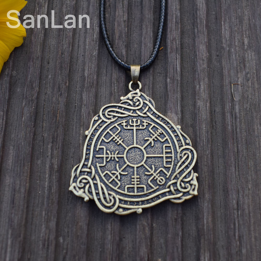 Originele Nordic Rune Amulet Hanger Vegvisir Kompas Runic Talisman