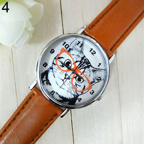Men  Women  Glasses Cat Dial Faux Leather Strap Analog Quartz Wrist Watch 5UXR adjustable wrist and forearm splint external fixed support wrist brace fixing orthosisfit for men and women