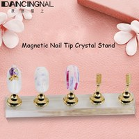 Magnetic Nail Practice Training Display Stand Acrylic Crystal Base Alloy False Nail Tip Holder Salon DIY