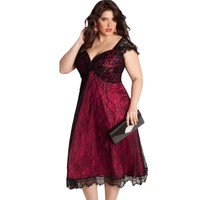 Elegant Lace Embellished Mid Calf Black Red Plus Size Dresses Xxxl Xxl Xl 2016 New Retro
