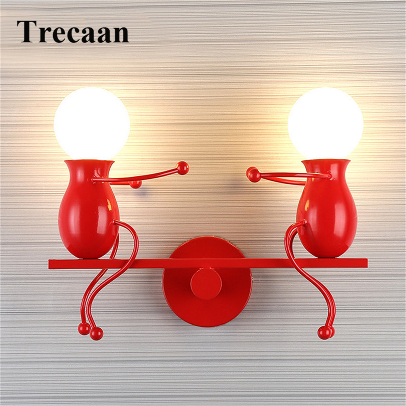 Trecaan Modern Cartoon Doll LED Wall Lamp Creative Mounted Iron Sconce Wall Light for Kids Baby Bedroom Corridor Wall Light