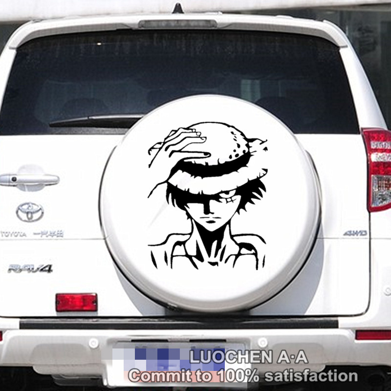 Car Stickers ONE PIECE Pirate Monkey D. Luffy Cartoon Creative Decals Waterproof Auto Tuning Styling 25*20cm & 50*40cm D11