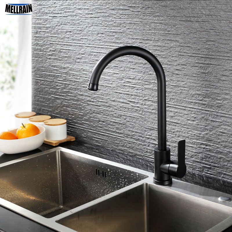Black Kitchen Sink Faucet.Us 49 39 42 Off Mate Black Kitchen Sink Faucet 304 Stainless Steel Qaulity Kitchen Hot Cold Water Mixer Deck Mounted Tapware In Kitchen Faucets