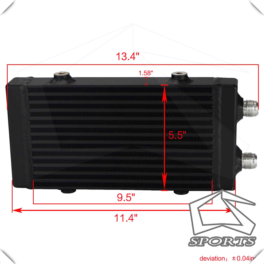 """Universal Dual Pass Bar /& Plate Oil Cooler Small Silver  Core:9.5/""""x5.5/""""x1.58/"""""""