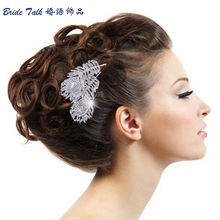 Women Wedding Dual Peacock Feather Hair Comb Tiara Drop Rhinestone Crystal Hair Accessories Bridal Jewelry Free Shipping 2849
