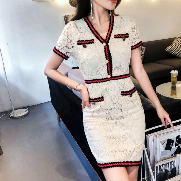 2018 Mini Beige Moulante Casual Robe Slim blanc D'été Nouvelles Piste Robes Party Gaine Femmes Dentelle Élégant Office BEdeWrCoQx