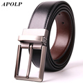 APOLP 100% Cowhide Belts For Men Male Genuine Leather Strap Double Faced Cowhide Belt Fashion Pin Buckle Brand Cinto Masculino