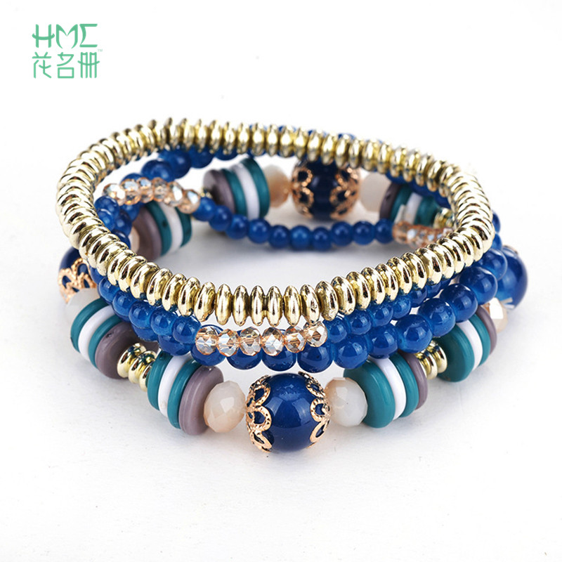 European And The United State Simple Srtyle Female 4pcs/set Bracelets 6 Color To Choose Acrylic Beads Rope Chain Fashion Jewelry Jewelry & Accessories