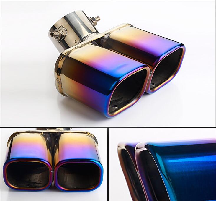 Car stainless steel Grilled blue Exhaust Muffler Tip End Pipes 1pcs for Hyundai 2014 2015 2016 2017 Creta ix25Car stainless steel Grilled blue Exhaust Muffler Tip End Pipes 1pcs for Hyundai 2014 2015 2016 2017 Creta ix25