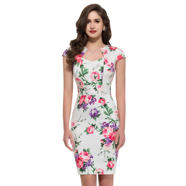 Short floral midi dresses 2016 summer style Slim Bodycon Sheath Party Prom women  Casual print office pencil Dress wear to work c054c41e5617
