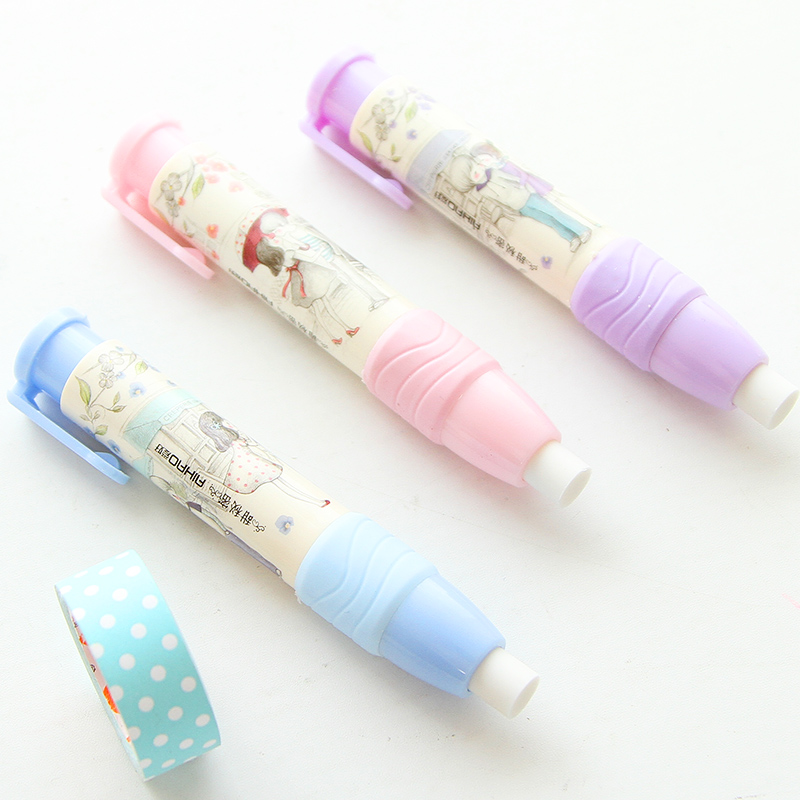 1 Piece Stationery Student Pen Shape Eraser Rubber Novelty Gift Extension Type Cute Design Plastic Eraser ...