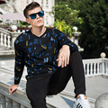 men's pattern knitting sweater v-neck long sleeve casual pullovers