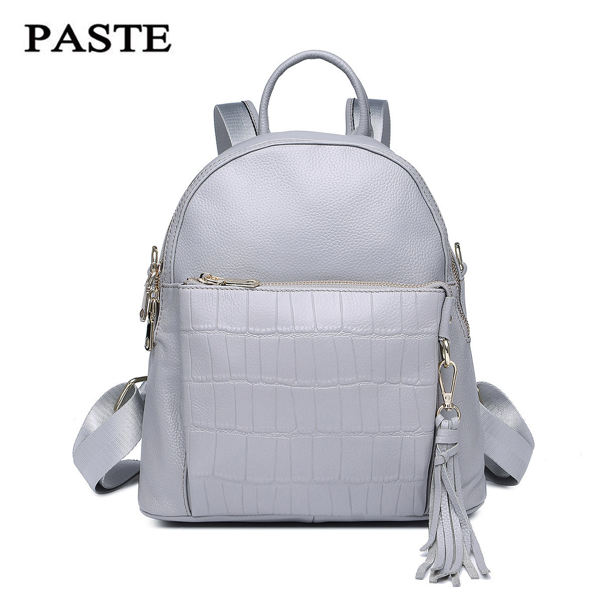 2017 Multifunction Crocodile Pattern Leather Women Backpack Leisure Daul use Shoulder Bag Preppy School Bag Cowhide