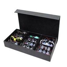 HUNYOO 12 רשת משקפי שמש תיבת אחסון ארגונית משקפיים תצוגת מקרה Stand מחזיק Eyewear משקפיים תיבת משקפי שמש מקרה