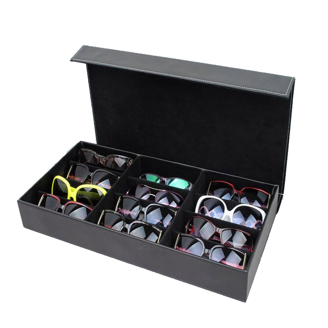HUNYOO 12 ตารางแว่นตากันแดดจัดเก็บกล่องแว่นตาผู้ถือขาตั้งแว่นตากล่องแว่นตากันแดด