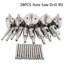 цена на 28Pcs/Set Diamond Drill Bit Hollow Drill Hole Saw Bit 6-50mm for Marble Tile Glass WWO66