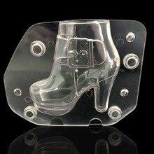 Plástico DIY 3D Zapato Del Tacón Alto Estéreo para mujer botas con tacón zapato Jalea Del Caramelo Del Molde Del Chocolate Del Molde de la Hornada de La Torta Herramientas de decoración de pasteles