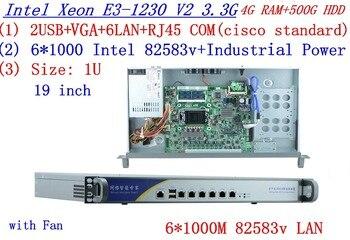 1U firewall server Network Server with  intel 6* 82583v Gigabit lan Inte Quad Core Xeon E3-1230 V2 3.3G 4G RAM 500G HDD