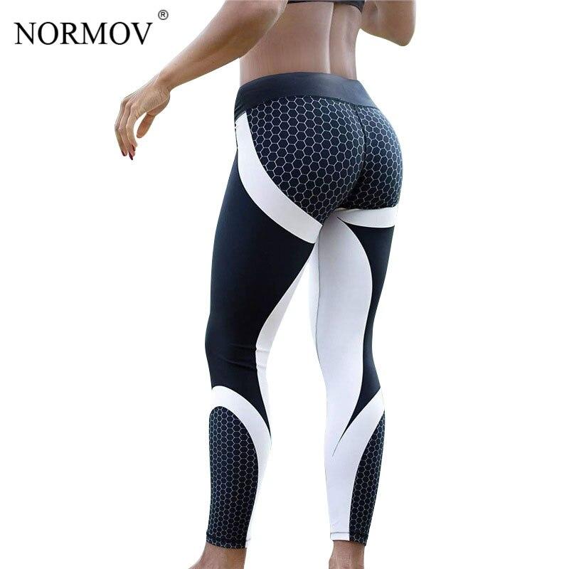 NORMOV Women   Leggings   Printed Fitness Sporting Workout   Legging   Honeycomb Digital Activewear   Leggings   Polyester Leggins S-XL