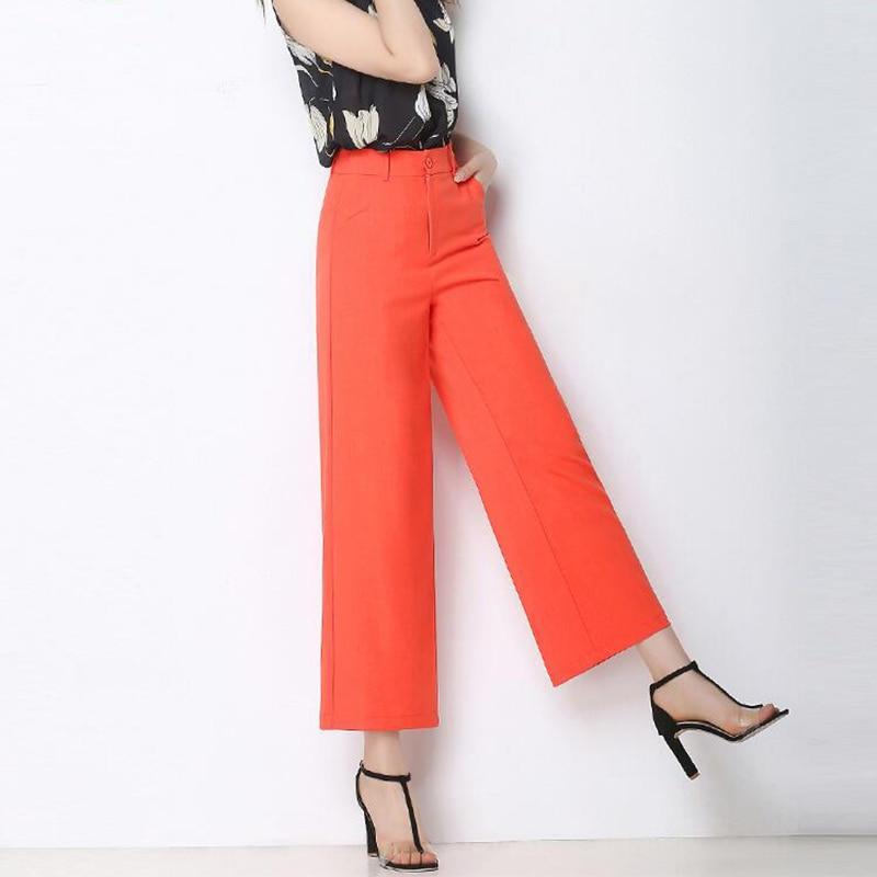 Spring Summer Women   Pants   New Cotton Linen High Waist   Pants   Large Size Nine Points Straight   Pants   Candy Color   Wide     Leg     Pants