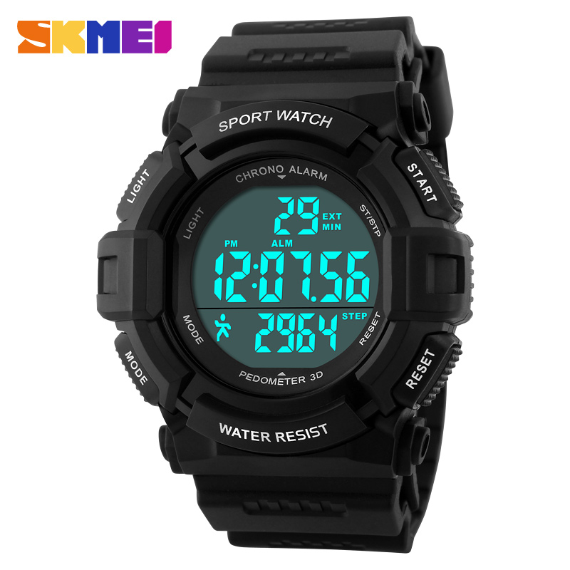 font b SKMEI b font Pedometer 3D Fashion Sports watches 50M Waterproof Alarm Stopwatch Men