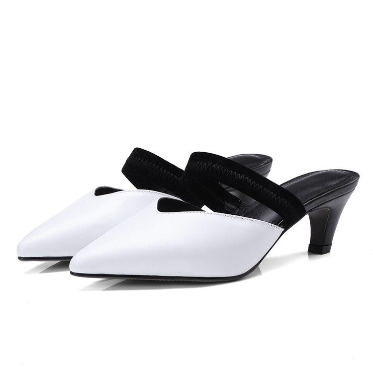 2018 Spitz Slingbacks Mules Superstar Stiletto Elegante B Leder Echtes Heels Med eEY2WHI9D