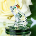 1.9inch Glass Crystal Frog Leaves in Lotus Figurines Feng Shui Paperweight Crafts Art&Collection Table Car Ornaments Home Decor