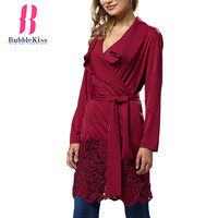 Patchwork Hollow Out Lace Dresses Solid Turn Down Collar Belt Casual Autumn Winter Dresses Elegant Work