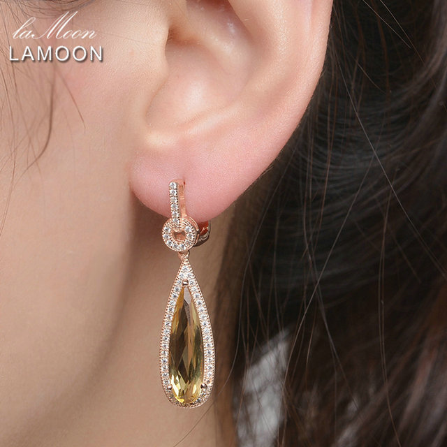 Lamoon Luxury Gemstone Natural Citrine 925 Sterling Silver Drop Earrings S925 Fine Jewelry Rose Gold Plated For Women LMEI024-in Earrings from Jewelry & Accessories on Aliexpress.com | Alibaba Group